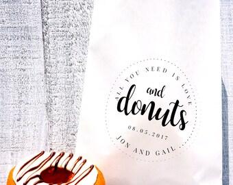 Donut Lined Favor Bag, Wax Lined Favor Bag, Custom Favor Bag, Popcorn Bag, Dessert Table, Candy Table, Wedding Favor, Love is Sweet