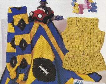 Gifts for Everyone, Annie's Attic Crochet Pattern Booklet 87S55 Football Afghan Otter-Car & More