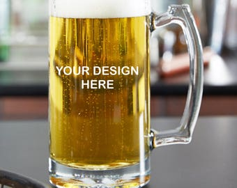Custom Engraved/Etched Beer Glass /25 oz Beer Mug /16oz Pint Glass /you choose your text and font