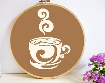 Coffee Cup Cross Stitch Pattern PDF Instant Download