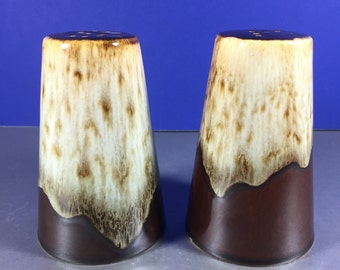 Salt and Pepper Shakers/ Brown Drip