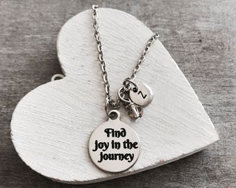 Retirement, Graduation, Silver Necklace, Silver Inspirational Necklace, Find Joy in the Journey Necklace, Personalized Necklace,
