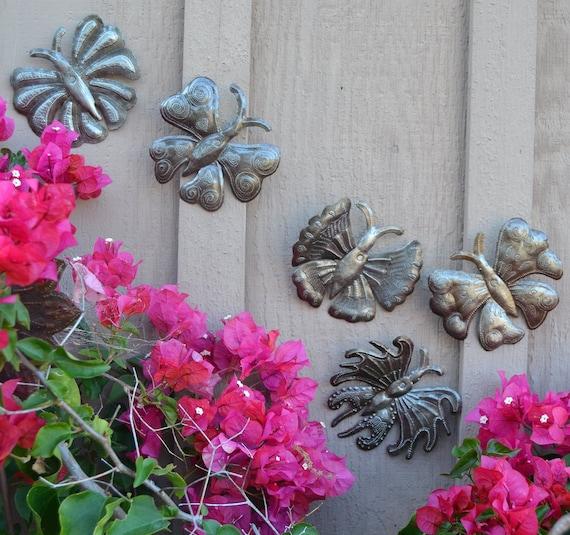 """Garden Butterflies, Haitian Metal Art, Recycled Oil Drums, (set of 5) 6"""" x 6"""""""