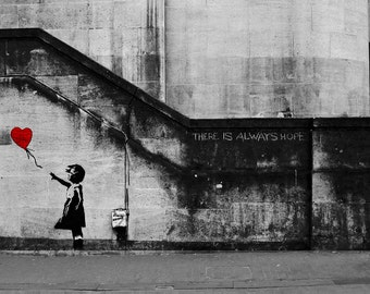 BANKSY Canvas Girl With The Red Balloon There Is Always Hope Balloon Girl Graffiti Wall Art Print Gallery Wrapped