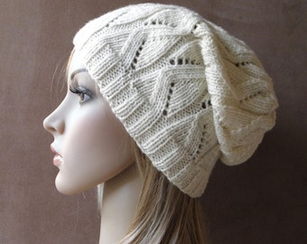 Hand knit beret slouchy hat slouch beanie womens hat cream creamy white fine australian wool zig zag openwork lace cables