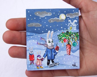 "SALE 70% off, Small Acrylic Original Painting on Tiny Canvas ""Christmas tree"" Rabbits with Funny Carrot"