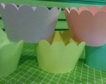 Pastel Colors Cupcake Wrappers- Birthday-Baby Shower-Anniversary-Wedding-Bridal Shower-Sweet 16- Mix and match colors