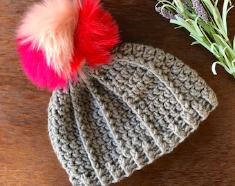 Pom Pom Hat, Beanie Hat, Faux Fur Pom Hat, Adult Hat, Winter Hat, Accessories, Crocheted Hat, Crocheted Pom Hat, Crocheted Beanie