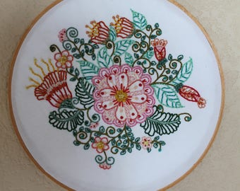 Flowery Embroidered Hoop Art
