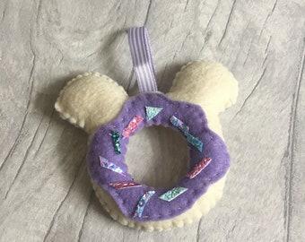Felt charm, felt donuts, bag charm, felt Mickey donut