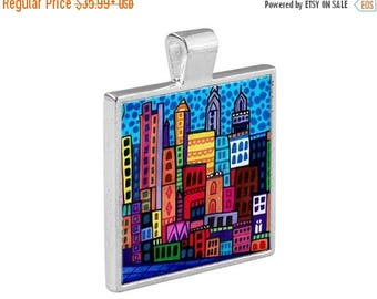 SALE ENDING- Philadelphia PA City Skyline Necklace Folk Art Jewelry - Pendant Metal  Gift Art Heather Galler Gift-  Travel Abstract Modern