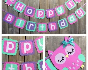 Owl Theme Birthday Banner - Owl 1st Birthday Banner - Owl Happy 1st Birthday