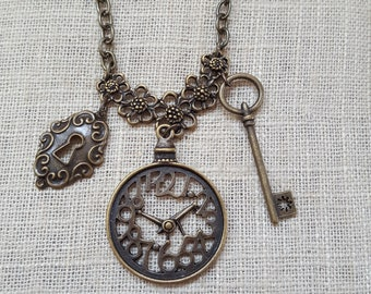 Steampunk Jewelry, Steampunk Necklace, Victorian Jewelry, Charm Jewelry, necklace, jewelry, Clock Jewelry, Skeleton Key Jewelry,