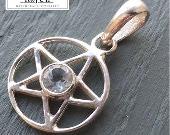 Solid 925 Sterling Silver Faceted Pentagram Pendant Pale Blue Topaz, Amethyst, Citrine, Garnet, Carnelian, Blue Topaz