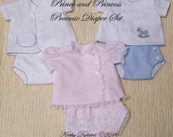 Prince and Princess Preemie Diaper Set PDF Pattern - 4/5 lb. size