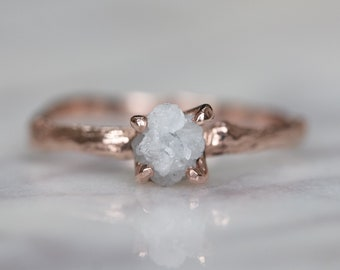 0.85 Carat Rough Diamond 14k Rose Gold Engagement Ring with Branch Band