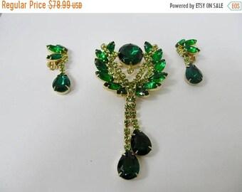 On Sale Vintage Large Prong Set Green Rhinestone Pin and Earring Set Item K # 746