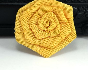 Yellow burlap rose flower - Burlap fabric flowers - wholesale rosette flowers -  rustic flowers for wedding, scrapbooking and hair clips