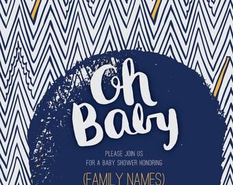 Baby Shower Invites, Baby Boy Invite, Navy Blue, Oh Baby,