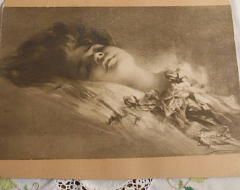 Rare Lovely WOMAN in REPOSE & Roses Litho Print, 1905 Sepia Philip Boileau Painter of Women, Mounted 11 x 14 Sweetheart to Frame Signed Date