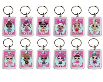 12x Lol inspired birthday party favor keychains