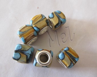 6 big-hole lamp work beads in turquoise and browns