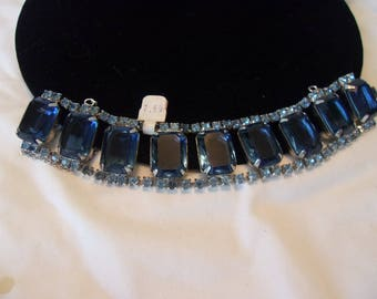 """Art Deco Sapphire Blue Emerald Cut Glass Rhinestone Geometric Wide Cuff Bracelet 7"""""""