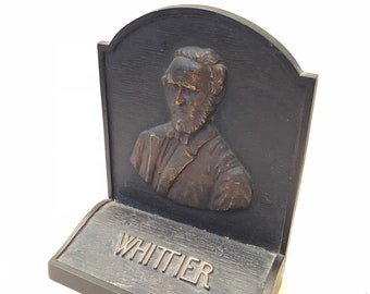Vintage Bronze 1926 John Greenleaf Whittier BOOKEND for library or study or cottage etc