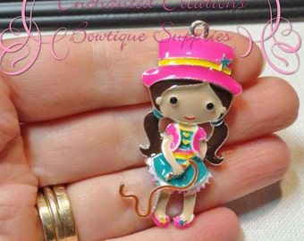 """2"""" Adorable Enamel Circus Ringmaster Girl With Top Hat and Lion Whip"""