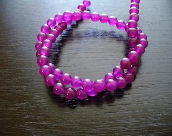 Jade Beads Gemstone Purple Round 6mm