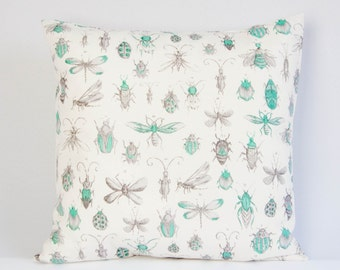 Insect pillow cover, modern pillow, bugs cushion cover, beetles throw pillow cover, fauna pillow, wedding gift, gift for her