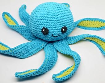 Amigurumi Octopus- Crochet Toy- Octopus Comfort Toy- Baby Toy- Plush Octopus- Stuffed Toy- Blue Crochet Cotton Octopus