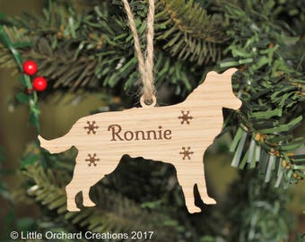 Personalised Border Collie Decoration, Border Collie Christmas Tree Decoration, Personalised dog decoration, Collie Christmas Decoration