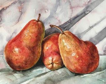 Painting of pears - original pear art - original watercolor art - still life painting - kitchen art