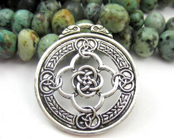 2 silver pagan Pendant wiccan charms celtic jewelry love knot enhancer 3.3cm x 2.9cm boho chic Ethnic jewelry pendant 208 (AA2)