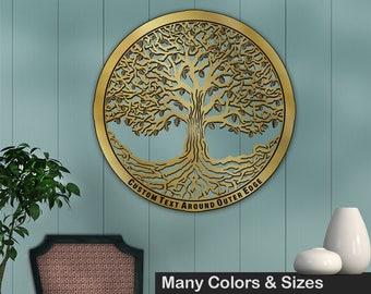 Tree of Life 28in Baltic Birch Metallic Base Wall Art w/ Optional Custom Text