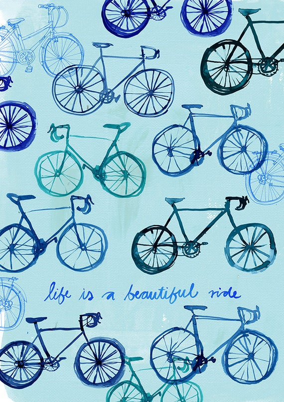 Life is A Beautiful Ride Archival Wall Art Print Kids Decor Blue