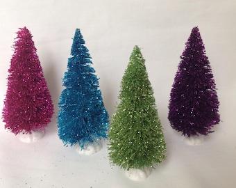 Four-4 Inch  Bottle Brush Trees,Glittered Sisal Trees, Fuscia/pink,Green,Purple,Blue  Bottle Brush Tree, Christmas Decor