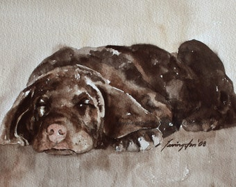 For him dad gift Lab Puppy PRINT Dog PRINT dog art print of lab puppy art print watercolor painting of lab painting dog chocolate labrador