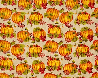 Colors of Fall Pumpkins & Leaves Tan ~ By the Yard ~ Fall Fabric by Stephanie Marrott for Wilmington Fabircs
