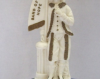 Antique English Bisque Pottery Male Youth Figurine PLEDGING TEMPERANCE - Band of HOPE