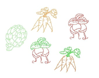 Vegetables  garden  Machine Embroidery Design   radish  carrots  artichoke  redwork stitch  two color and one color   #396