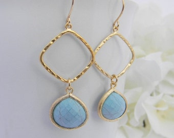 Turquoise Earrings - Turquosie Dangle Earrings - Turquoise Statement Earrings - Geometric Earrings - Gold Earrings - Jewelry Gift - Gift