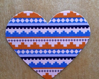 "12 Tribal Pattern Heart stickers/labels/seals - RED- (2.28"" x 1.89"")"
