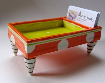 whimsical pottery Desk Dish -- business card & candy holder colorful ceramics, kitchen desk, bright chartreuse, tangerine orange polka-dots