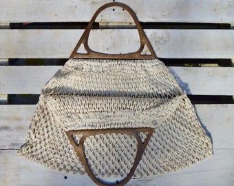 Cream Crochet Handbag with Wooden Handles