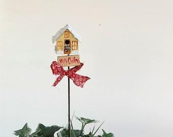 Tan and Gold Metal Birdhouse Plant Poke , Hand Painted , Christmas Design