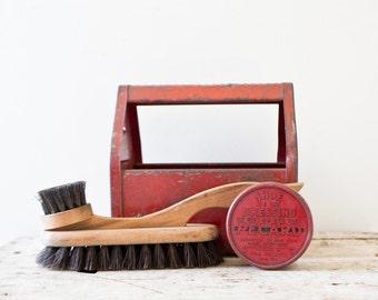 Vintage Shoe Shine Kit  - Kidds Shu Shine Metal Red Toolbox Tools Bank Toy Box Education Schooling Tin