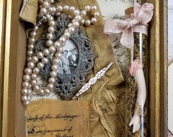 Altered Glass Case- Test Tube artwork, Vintage doll arm, pearl necklace, glove, love letter,interactive artwork - I Remember You