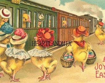Easter Vintage Easter Postcards Download Printable Art Image Chicks on Train 300 DPI